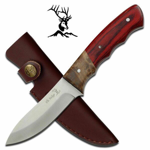 Elk Ridge Fixed Blade Knife Burl Pakkawood 8.5'' Overall