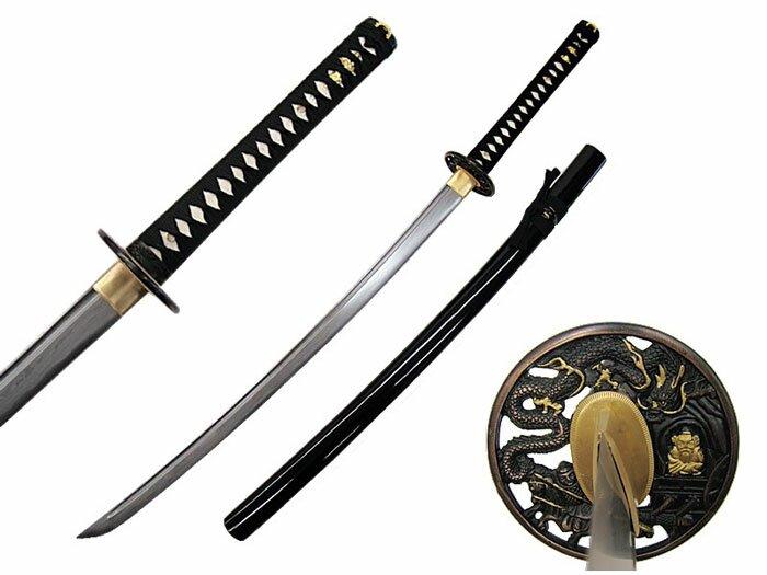 Katana Ten Ryu Damascus Sword Dragon Tsuba