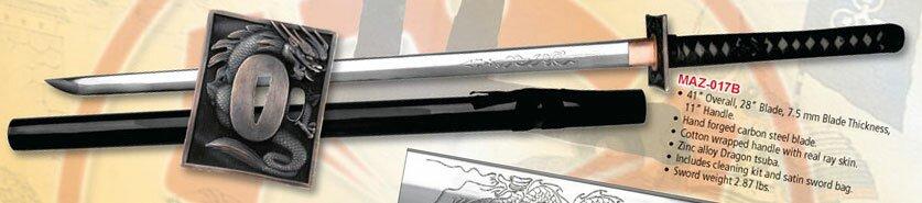 Ten Ryu Hand Forged Ninja Sword Dragon